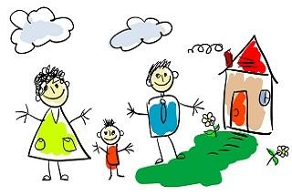 Нарисованная счастливая семья