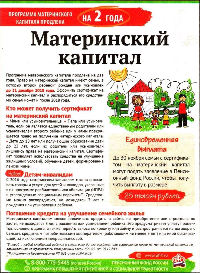 Страница газеты о мат.капитале