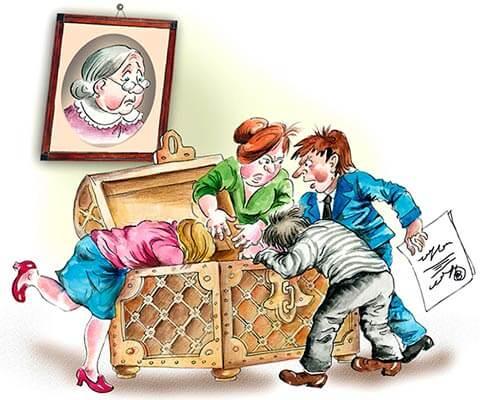 Карикатура разделения наследства