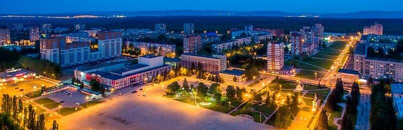 Вечернее фото на площадь Центрального района Тольятти